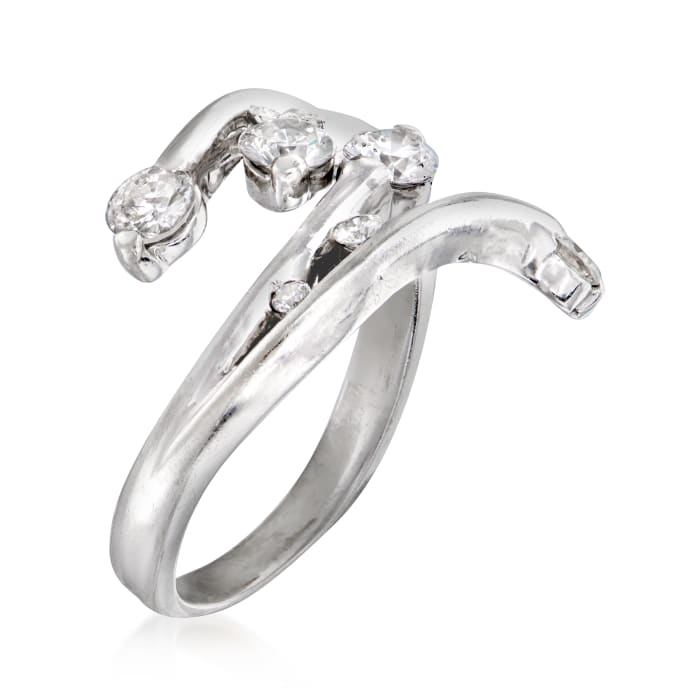 C. 1990 Vintage 1.00 ct. t.w. Diamond Bypass Ring in 14kt White Gold