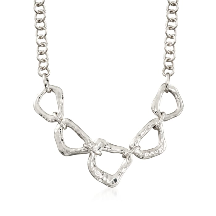 """Zina Sterling Silver """"Touchstone"""" Reversible Geometric Link Necklace"""
