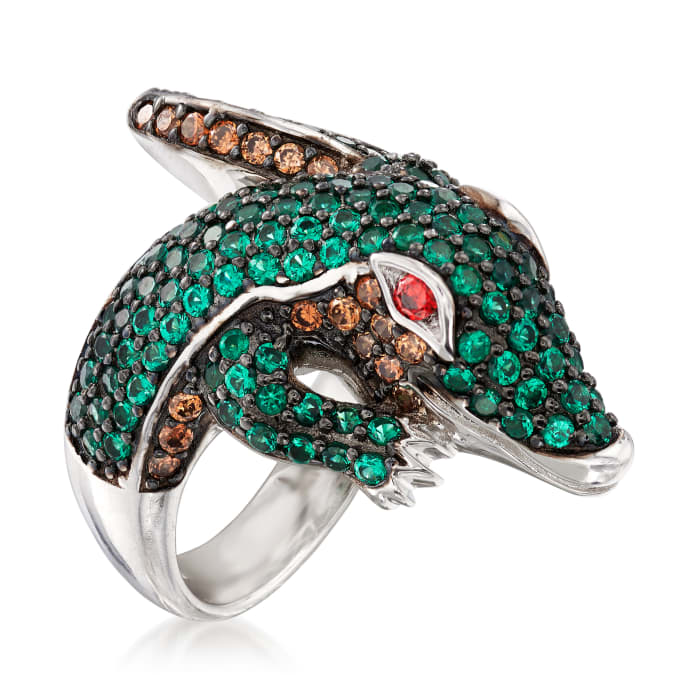 2.30 ct. t.w. Multicolored CZ Alligator Bypass Ring in Sterling Silver