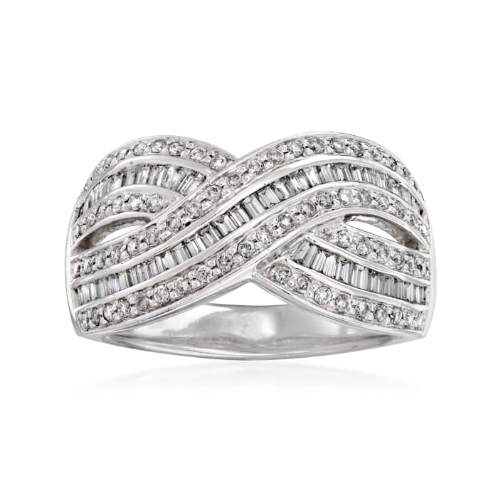 C. 1990 Vintage 1.00 ct. t.w. Baguette and Round Diamond Ring in 14kt White Gold