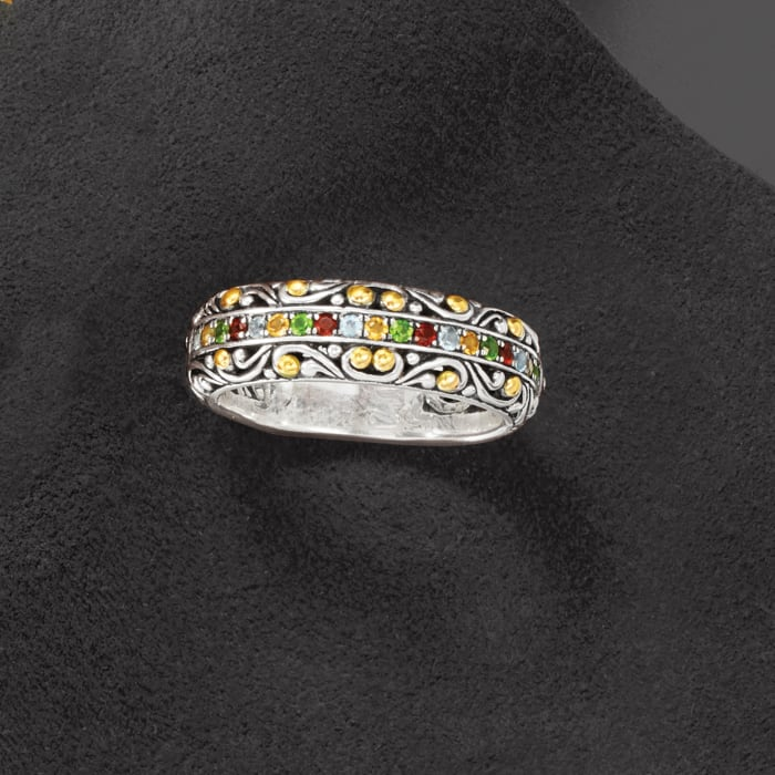 .34 ct. t.w. Multi-Gemstone Balinese Ring in Sterling Silver with 18kt Yellow Gold