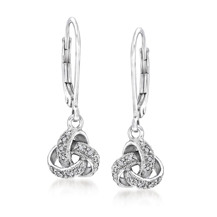 Diamond-Accented Love Knot Drop Earrings in Sterling Silver