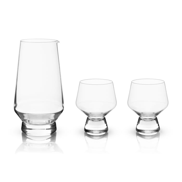 3-pc. Footed Crystal Sake Set