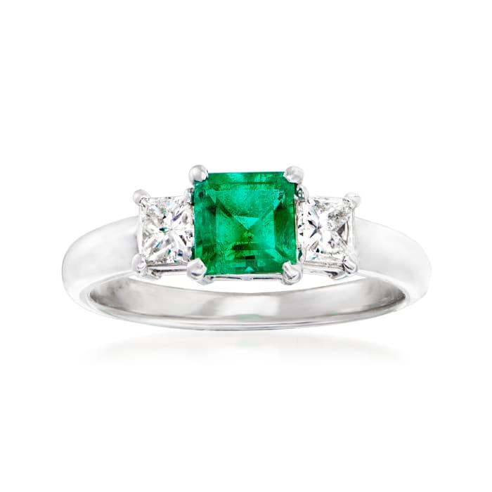 C. 1990 Vintage .58 Carat Emerald and .40 ct. t.w. Diamond Ring in Platinum