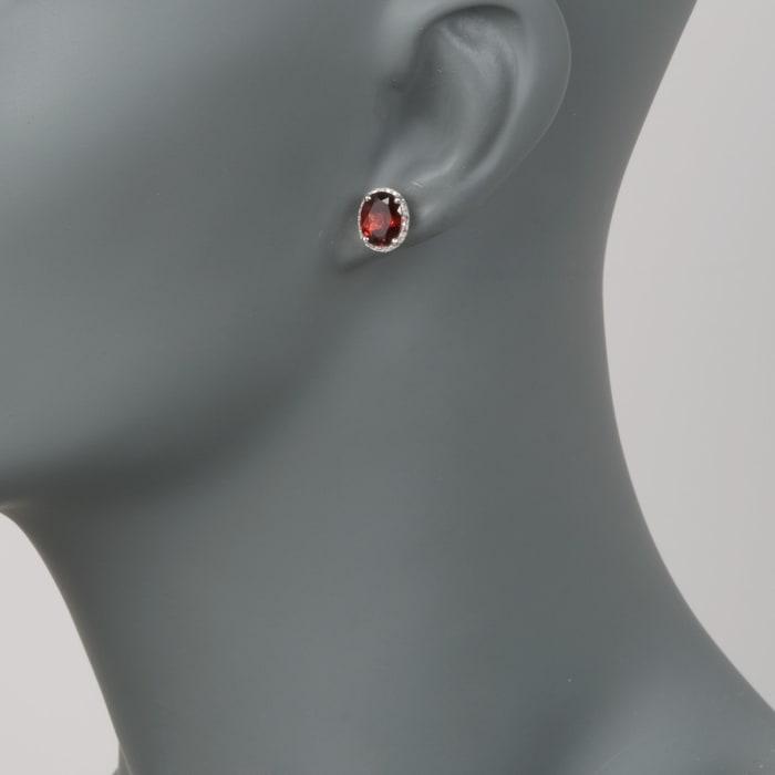 4.05 ct. t.w. Garnet Stud Earrings with .10 ct. t.w. Diamonds in 14kt White Gold