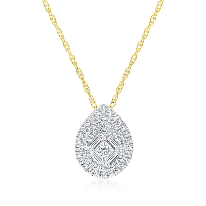 .20 ct. t.w. Baguette and Round Diamond Pear-Shaped Cluster Necklace in 14kt Yellow Gold