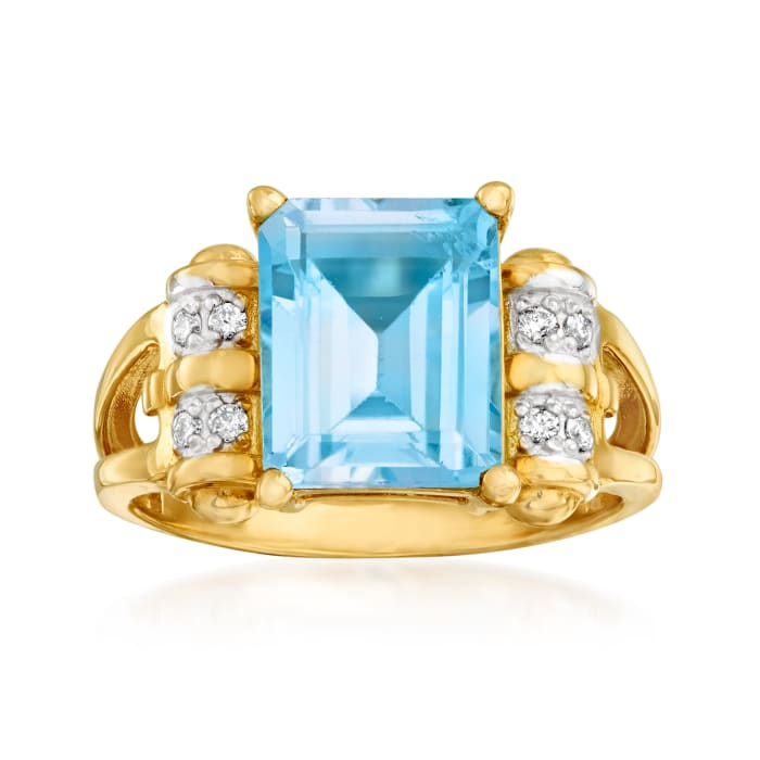 2.80 Carat Sky Blue Topaz Ring in 14kt Yellow Gold