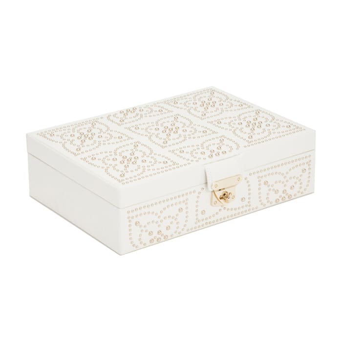 "Wolf ""Marrakesh"" White Leather Flat Jewelry Box"