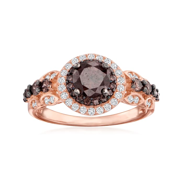 1.40 ct. t.w. Brown and White CZ Ring in 18kt Rose Gold Over Sterling