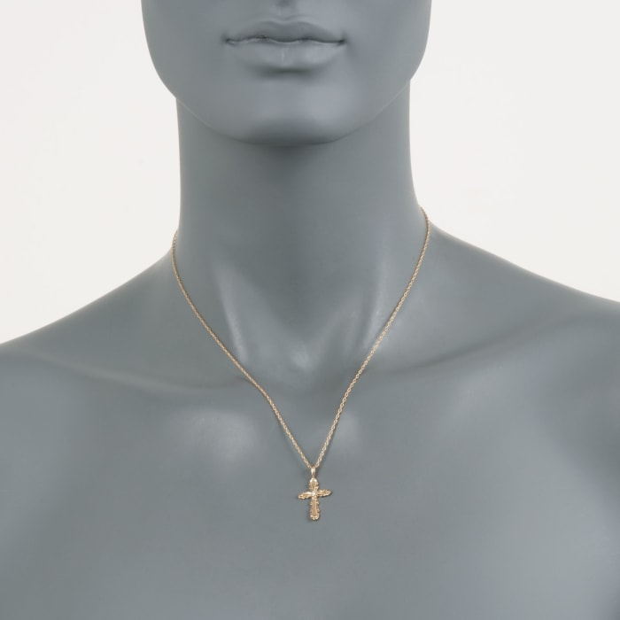 14kt Yellow Gold Cross Pendant with Diamond Accent