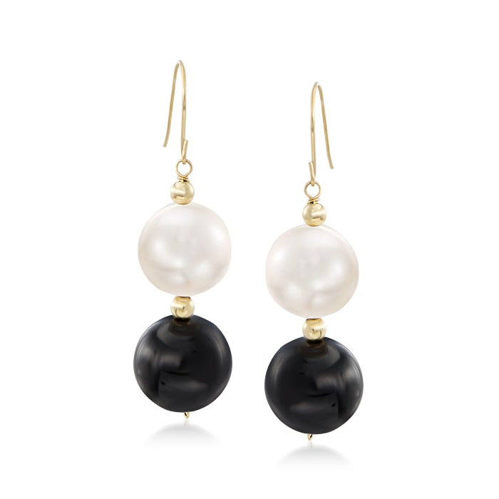 11-11.5mm Cultured Pearl and Black Onyx Bead Drop Earrings in 14kt Yellow Gold