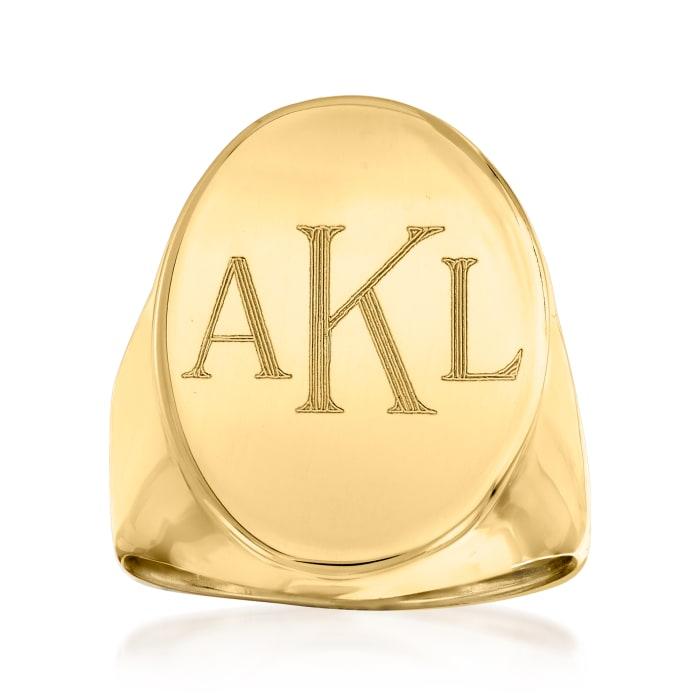 Italian 14kt Yellow Gold Oval Monogram Signet Ring