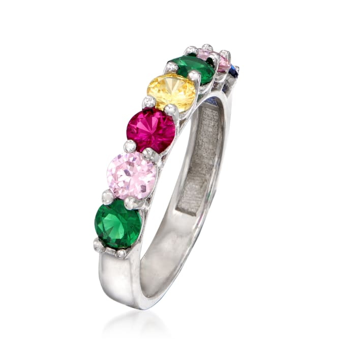 .35 ct. t.w. Rainbow CZ Ring in Sterling Silver
