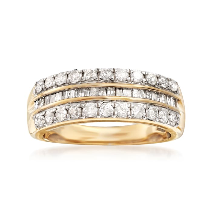1.00 ct. t.w. Round and Baguette Diamond Three-Row Ring in 14kt Gold Over Sterling