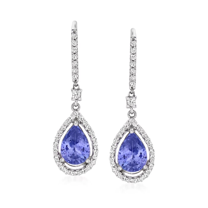 2.00 ct. t.w. Tanzanite and .41 ct. t.w. Diamond Pear-Shaped Drop Earrings in 14kt White Gold