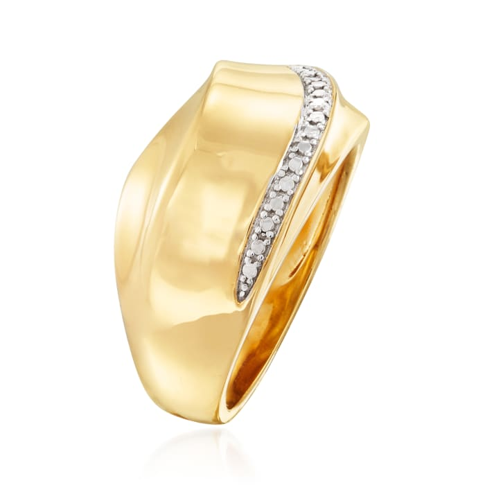 Two-Tone Sterling Silver Wave Ring with Diamond Accents