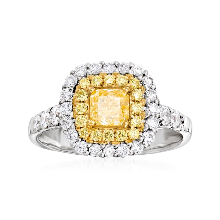1.55 ct. t.w. Yellow and White Diamond Halo Ring in 18kt Two-Tone Gold