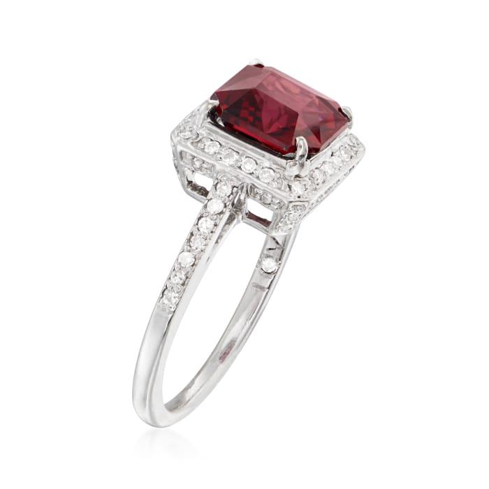 C. 1990 Vintage 2.50 Carat Rhodolite Garnet and 30 ct. t.w. Diamond Ring in 14kt White Gold