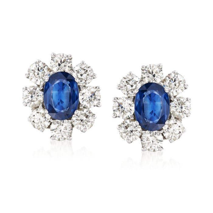 2.00 ct. t.w. Sapphire and 2.55 ct. t.w. Diamond Floral Earrings in 14kt White Gold