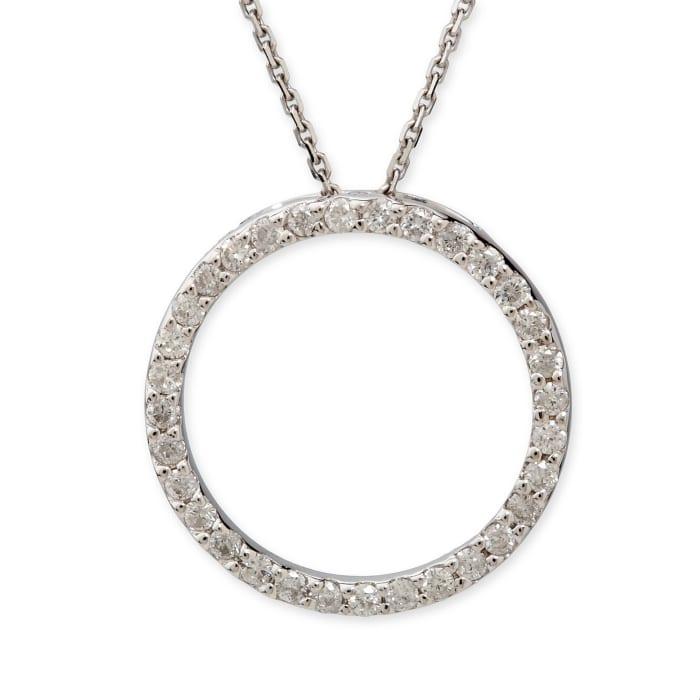 .50 ct. t.w. Diamond Open Circle Pendant Necklace in 14k White Gold