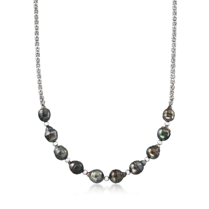9.5-10.5mm Black Cultured Tahitian Pearl Byzantine Necklace in Sterling Silver
