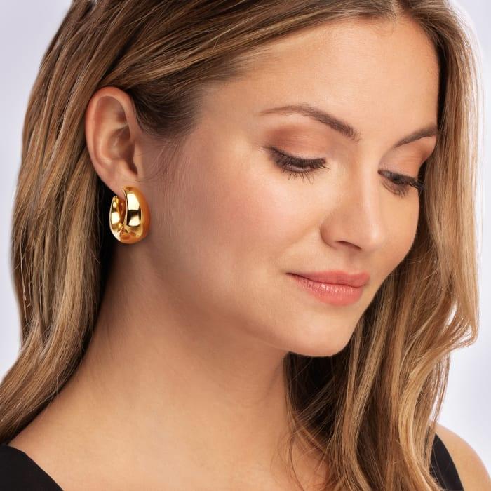 Italian 18kt Gold Over Sterling Hoop Earrings
