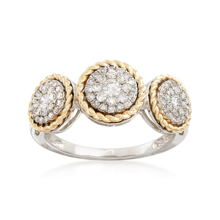 .51 ct. t.w. Diamond Halo Ring in Sterling Silver and 14kt Yellow Gold