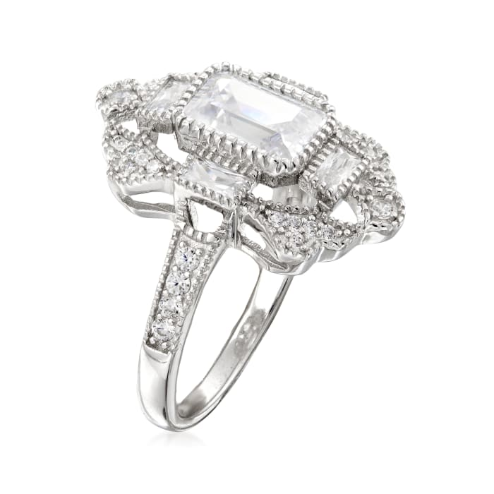 2.30 ct. t.w. CZ Vintage-Style Ring in Sterling Silver