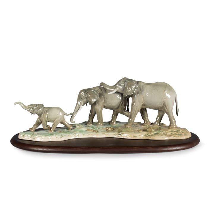 "Lladro ""We Follow in Your Footsteps"" Elephant Porcelain Figurine"
