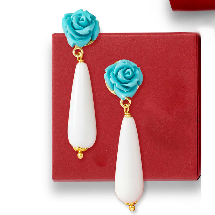 Italian White Agate and Turquoise Rose Drop Earrings in 18kt Gold Over Sterling