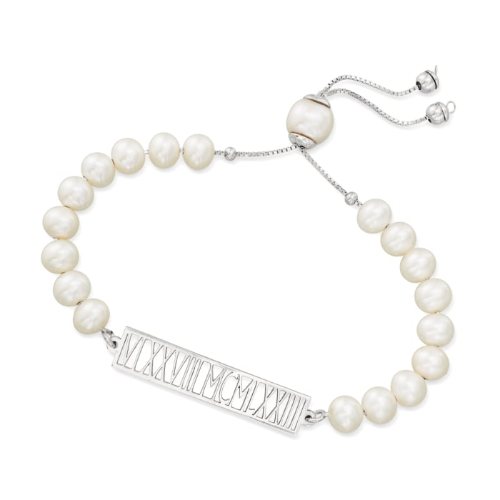 6.5-7mm Cultured Pearl Roman Numeral Bolo Bracelet in Sterling Silver