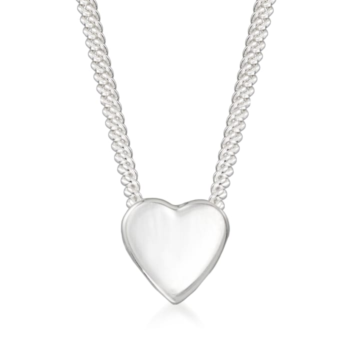 "Zina Sterling Silver ""Contemporary"" Mini Heart Necklace"