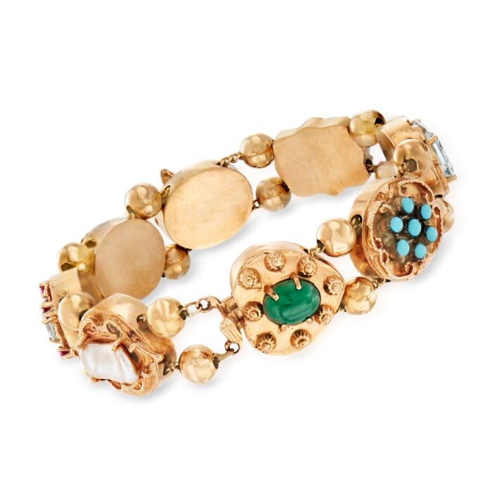 C. 1960 Vintage Multi-Gem Bracelet in 14kt Yellow Gold