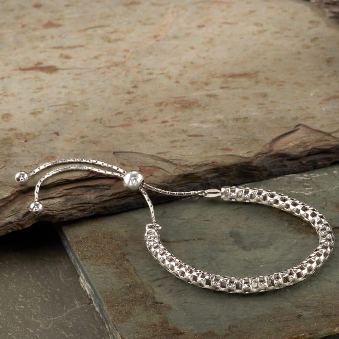 Italian Sterling Silver Mesh Bolo Bracelet