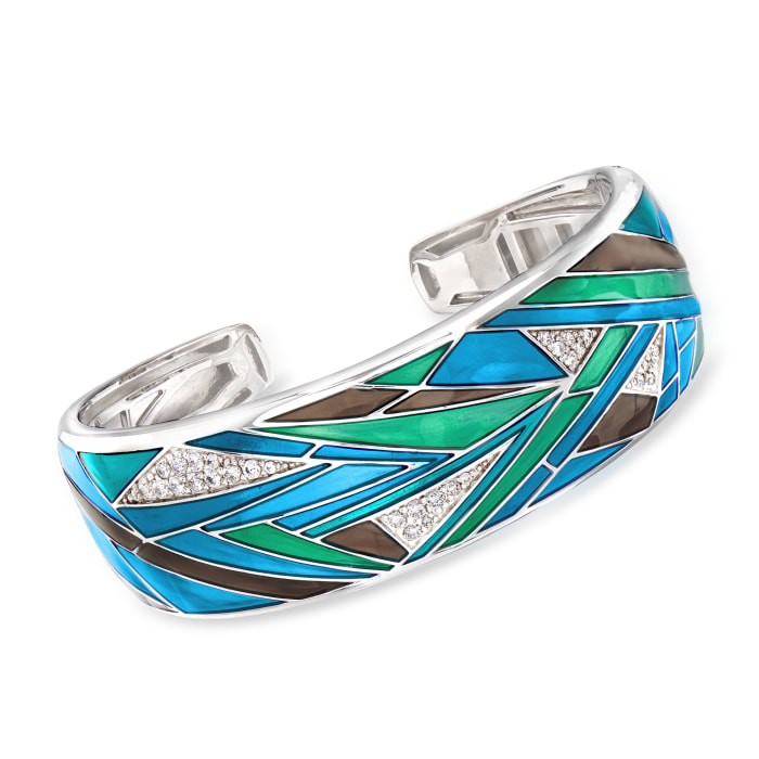 "Belle Etoile ""Chromatica"" Multicolored Enamel and .91 ct. t.w. CZ Cuff Bracelet in Sterling Silver"