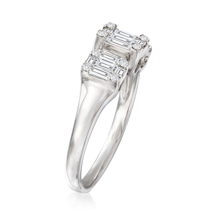 .57 ct. t.w. Baguette and Round Diamond Cluster Ring in 18kt White Gold