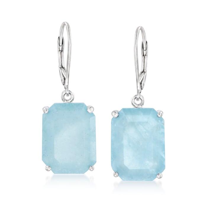 20.00 ct. t.w. Aquamarine Drop Earrings in Sterling Silver