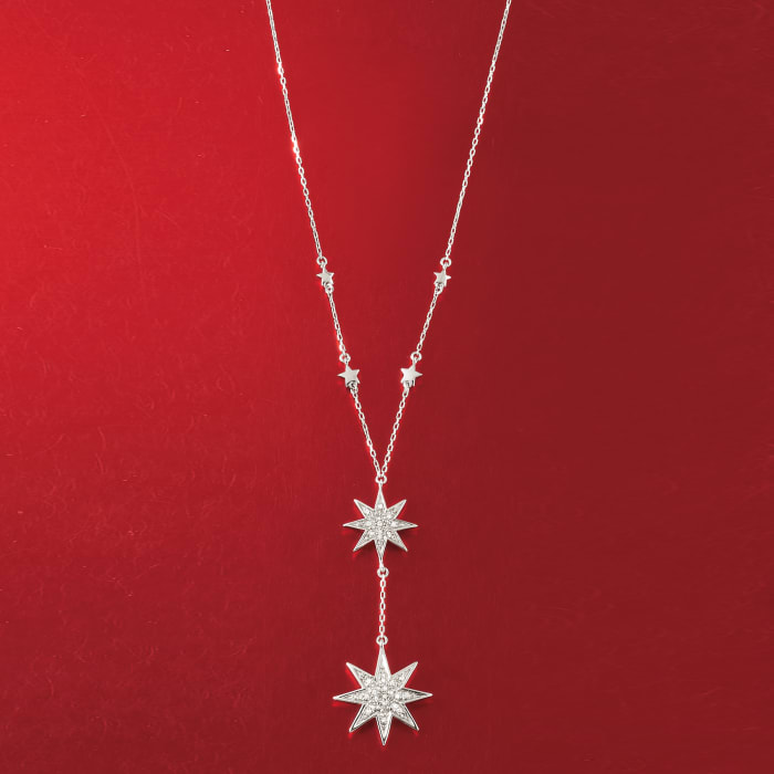.50 ct. t.w. Diamond Double Star Y-Necklace in Sterling Silver