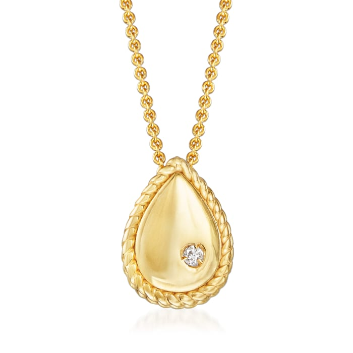 "Phillip Gavriel ""Italian Cable"" Teardrop Pendant Necklace with Diamond Accent in 14kt Yellow Gold"