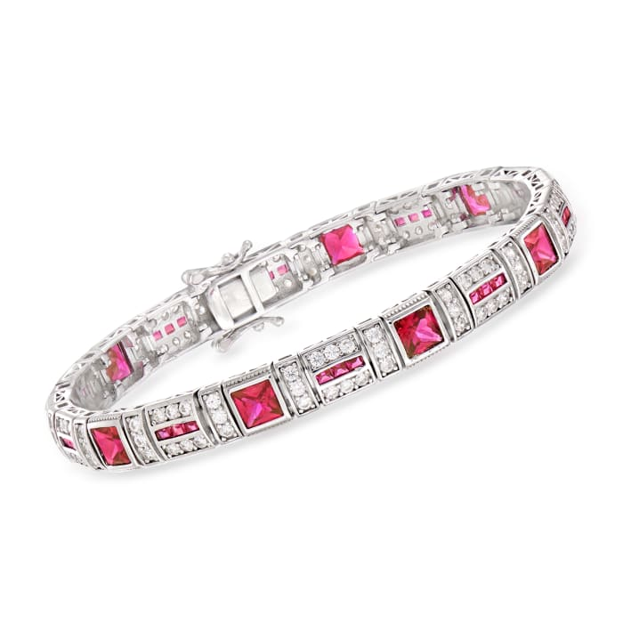 7.35 ct. t.w. Simulated Ruby and 2.30 ct. t.w. CZ Bracelet in Sterling Silver