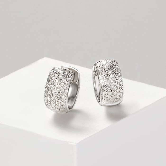 Diamond-Accented Huggie Hoop Earrings in Sterling Silver