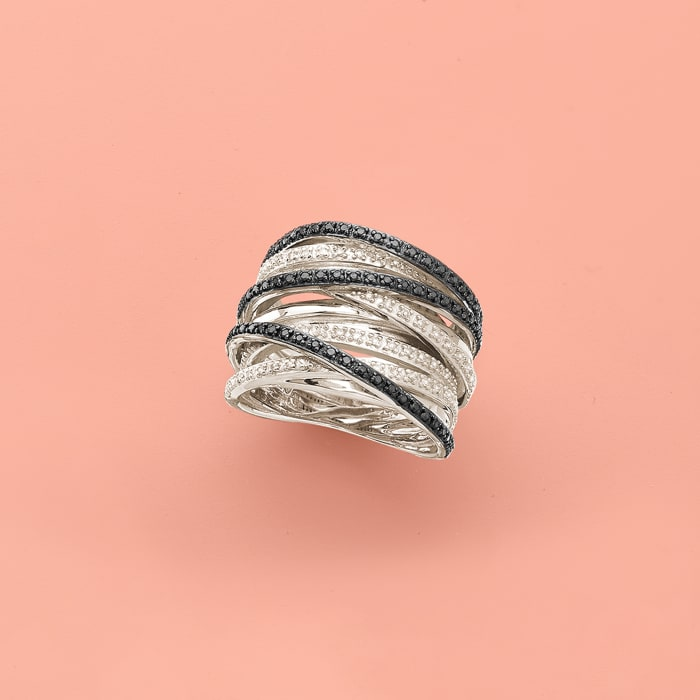 .30 ct. t.w. Black and White Diamond Highway Ring in Sterling Silver