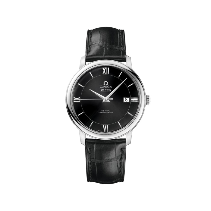 Omega De Ville Prestige Men's 39.5mm Stainless Steel Watch with Black Leather Strap and Dial