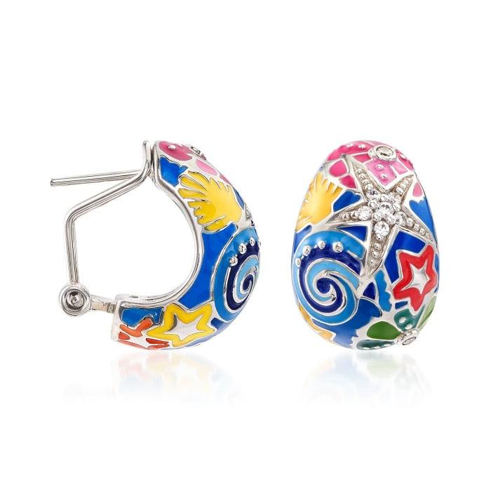 """Belle Etoile """"Starfish"""" Blue and Multicolored Enamel Half-Hoop Earrings with CZs in Sterling Silver"""