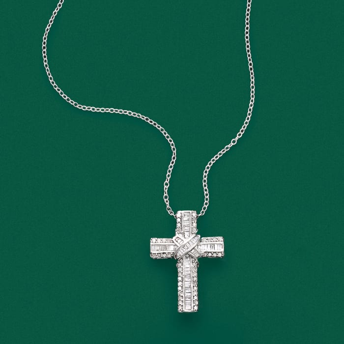 .50 ct. t.w. Diamond Cross Pendant Necklace in Sterling Silver