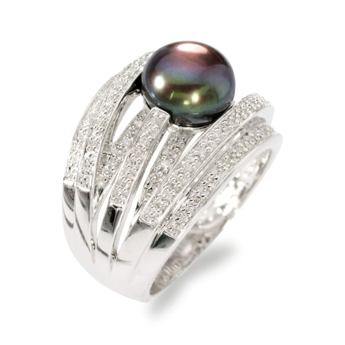 9mm Black Cultured Pearl and .20 ct. t.w. Diamond Highway Ring in Sterling Silver
