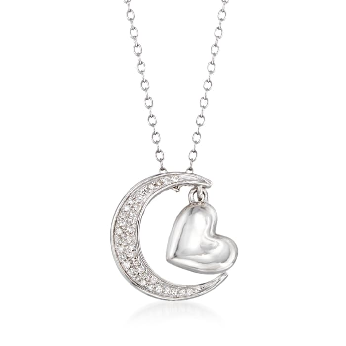 .10 ct. t.w. Diamond Heart and Moon Necklace in Sterling Silver