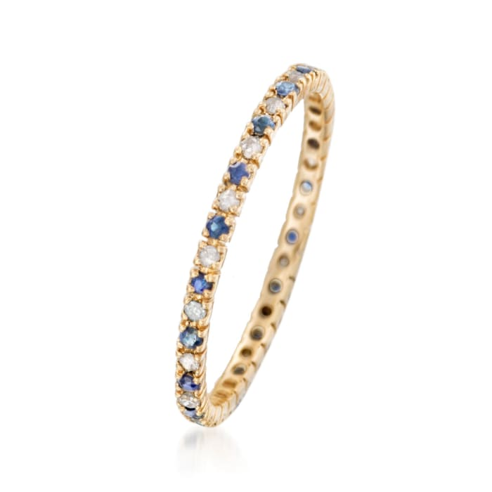 .18 ct. t.w. Sapphire and .13 ct. t.w. Diamond Eternity Band Ring in 14kt Yellow Gold