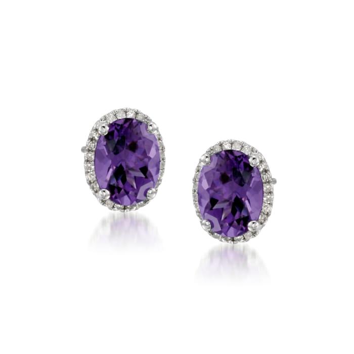 3.50 ct. t.w. Amethyst Stud Earrings with .10 ct. t.w. Diamonds in 14kt White Gold