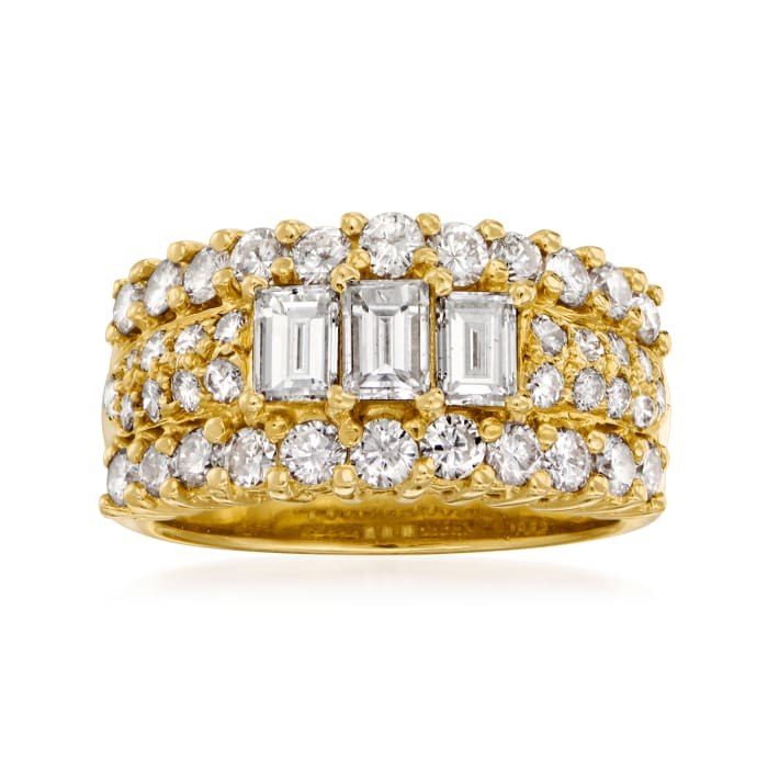 C. 1990 Vintage 2.19 ct. t.w. Diamond Ring in 18kt Yellow Gold